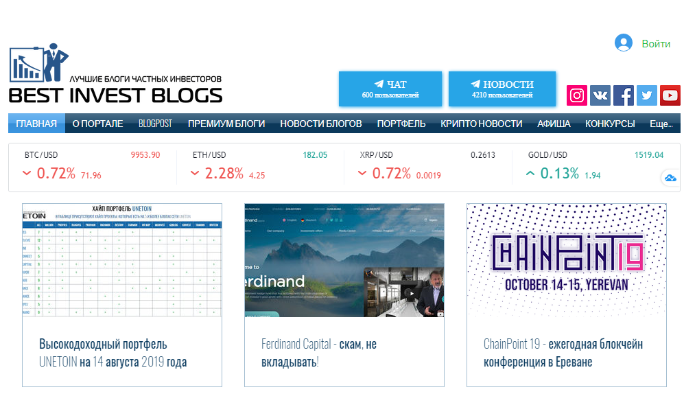 Best Invest Blogs - портал лучших блоггеров