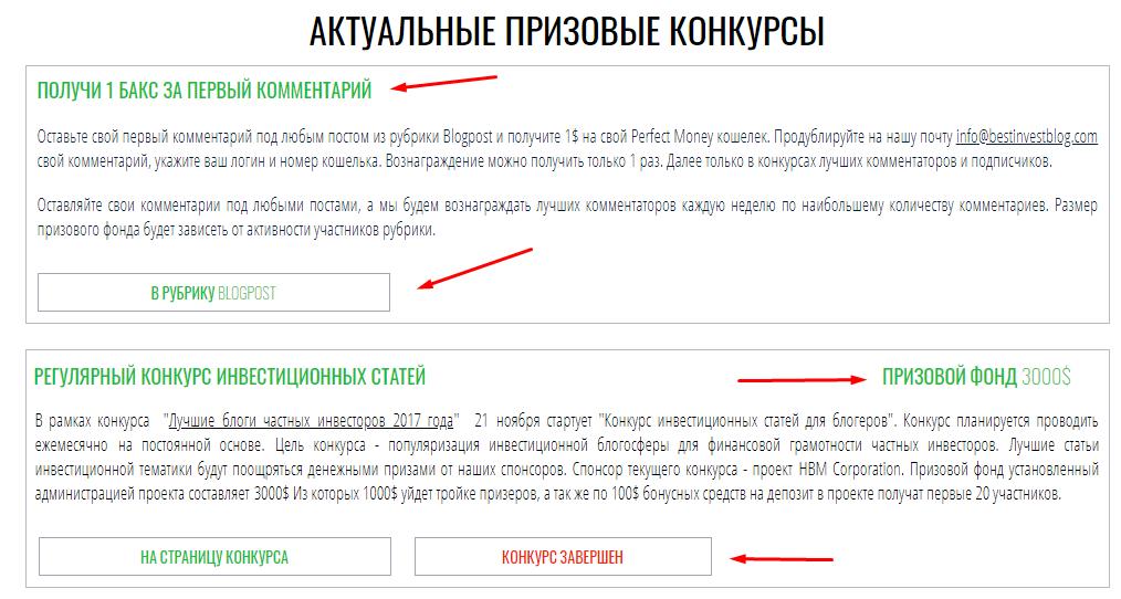 Бест инвест блог - акутальные конкурсы