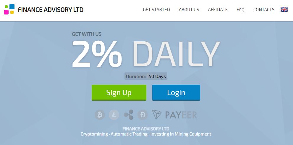 Finadv - низкодоходный хайп проект