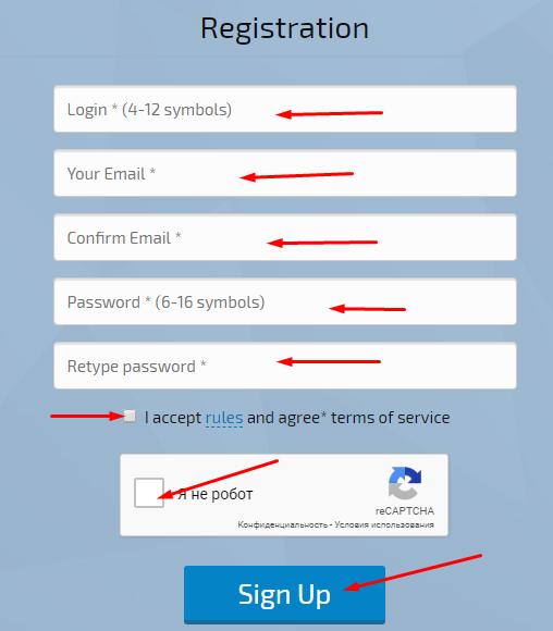 Finadv - регистрация на проекте