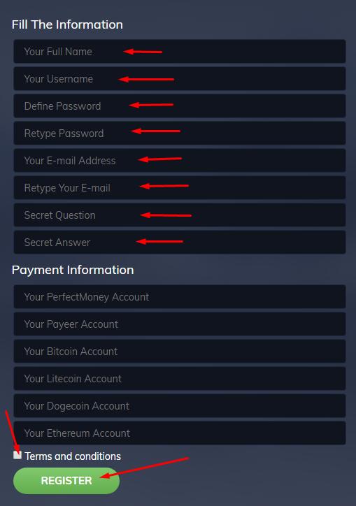 Hourspayday - регистрация на проекте
