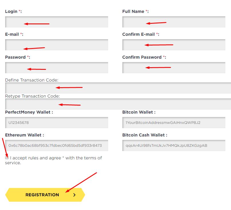 Bitenux - Регистрация на проекте