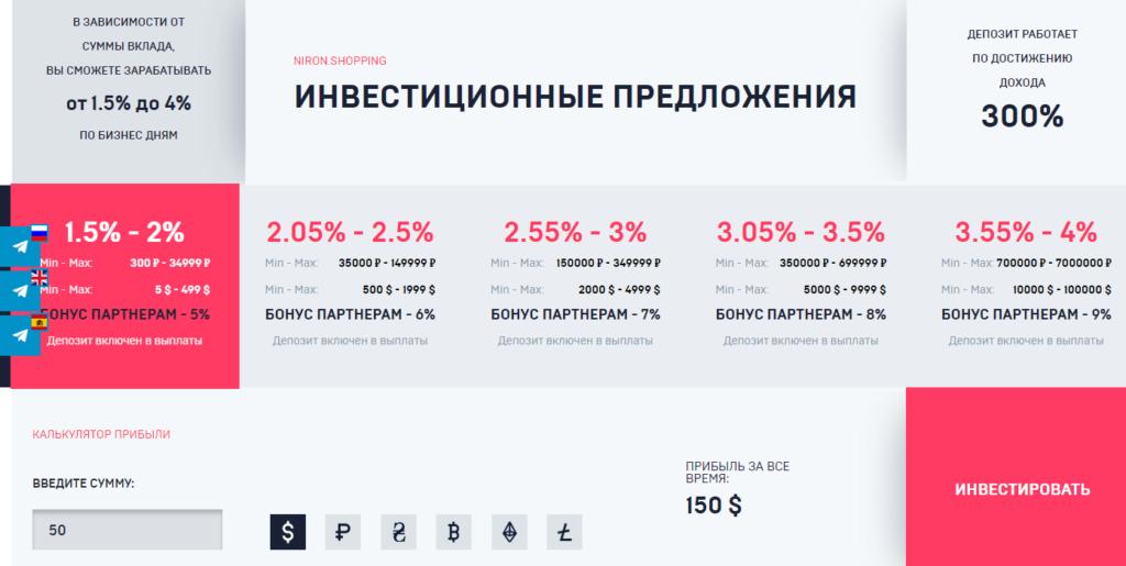 Niron.shopping - маркетинг проекта
