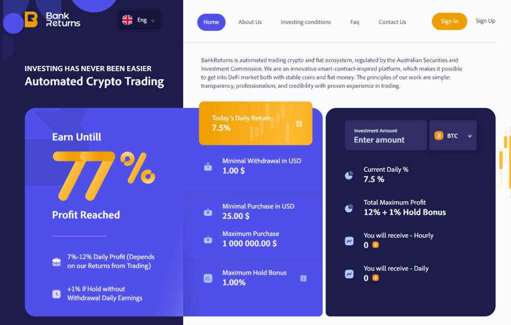 Bankreturns.com - Высокодоходный хайп проект